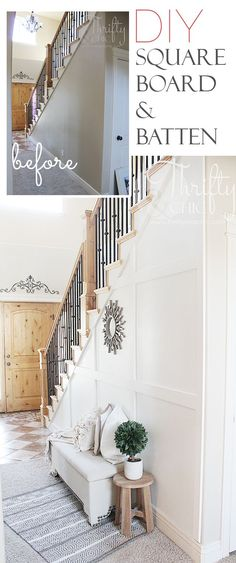 DIY square board and batten wall treatment. Great way to add character to hallways and big boring walls!