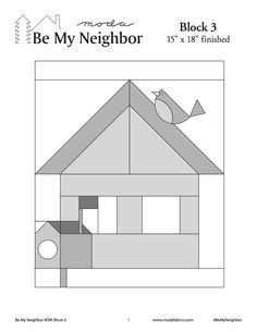 Be My Neighbor Quilt-Along Block 3 - Pine Tree Quilt Shop House Quilt Patterns, House Quilt Block, Quilt Block Patterns, Pattern Blocks, Quilt Blocks, Applique Patterns, Tree Quilt, Quilt Art, Foundation Paper Piecing