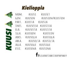 """Learn Finnish by my way on Instagram: """"This is how to form these words """"kuusi = 6"""" and """"kuusi = spruce"""" in single and plural forms in different cases.  They are different in…"""" Plural Words, Learn Finnish, Finnish Language, My Way, Finland, Learning, Instagram, Studying, Teaching"""