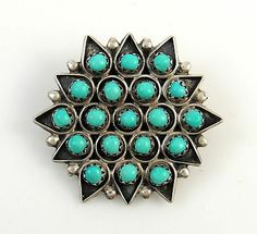 Vintage Zuni Turquoise & Sterling Silver Snake Eye Pin/Pendant