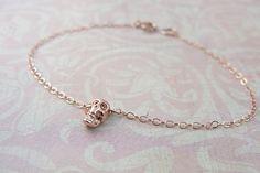 Rose gold skull bracelet