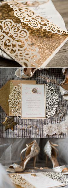 Chic rustic vintage glittery ivory laser cut wedding invitations#weddings#invitations#gold#ivory#elegantweddinginvites#elegantweddinginvites