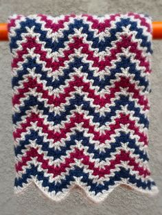 Chevron Ripple Baby Afghan Patriotic Berries and Cream Handmade Crochet by Three O'clock Designs, $25.00