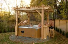 Hot tub pergola plans Hot tub pergola plans Build Garden Structures in Your Backyard I have long wanted to know how to build a pergola in my backyard I wanted a nice shad Diy Pergola, Hot Tub Pergola, Hot Tub Backyard, Jacuzzi Outdoor, Outdoor Pergola, Pergola Kits, Deck Gazebo, Cedar Pergola, Outdoor Shade