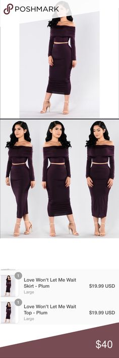 "New✨ Fashion Nova ""Love won't let me wait"" set 😍 New Item✨ Fashion Nova ""Love won't let me wait"" set 😍✨  ✨ New with Tags- Never worn ✨ Very beautiful set, Plum Color- perfect for the Holidays   🔸Brand New✨ 🔸PRICE IS FIRM- already listed at lowest price  🔸If you want to save please look into bundling  🔸In Stock 🔸No Trades 🔸Will ship within 24- 48 hours Monday-Friday  🚫Please -NO- Offers on items priced $10 and under AND ON SALE ITEMS‼️  🚫Serious Inquiries Only❣️  🔹Bundle one or…"