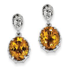Sterling Silver Whiskey Quartz Earrings QE9901WQ
