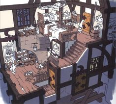Interior of the Treno Inn Final Fantasy IX Concept art Sketch Environment Concept Art, Environment Design, Concept Art Landscape, Art Tutorial, 8bit Art, Isometric Art, Art Disney, Building Concept, Interior Concept