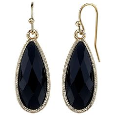 1928 Faceted Elongated Teardrop Earrings ($14) ❤ liked on Polyvore featuring jewelry, earrings, black, fish hook jewelry, earring jewelry, nickel free earrings, nickel free jewelry and fish hook earrings