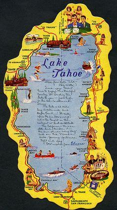 Lake Tahoe die-cut map postcard