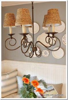 Chandelier and lamp makeover how to make scrapbook paper chandelier wow us wednesdays 133 chandelier ideaschandelier shadeschandeliersnautical kitchencountry kitchendiy mozeypictures Choice Image