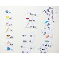 Čtení s otevřenou slabikou, kartičky ke čtení nápad