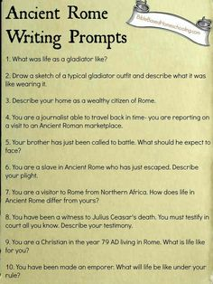 FREE Ancient Rome Writing Prompts Printable - for my SS friends 7th Grade Social Studies, Social Studies Classroom, Teaching Social Studies, History Classroom, Student Teaching, Ancient World History, World History Lessons, Study History, Teaching Latin