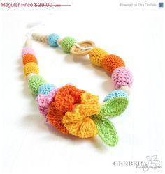 SALE 20 Teething necklace / breastfeeding toy by GerberaHandmade, $24.36