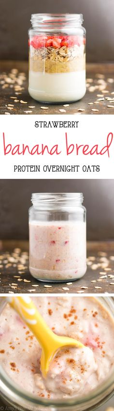 Healthy Strawberry Banana Bread Protein Overnight Oats -- just 5 ingredients & nearly 15g of protein! Eat dessert for breakfast with NO guilt!