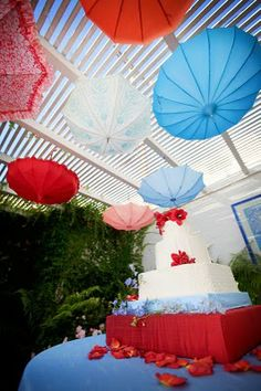 Hanging Umbrellas for a party