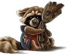 Baby rocket with his groot doll.