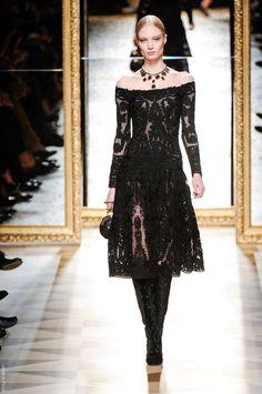 salvatore ferragamo fall '12; off the shoulder lace dress