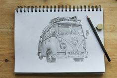 Pencil drawing of a split screen VW camper van