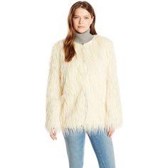 Show Me Your Mumu Women's Bohemia Faux Fur Jacket ($180) ❤ liked on Polyvore featuring outerwear, jackets, long sleeve jacket, oversized jacket, white jacket, faux fur jacket and fake fur jacket