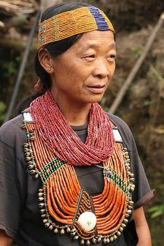 India - Nagaland | Konyak Naga woman at Chui village. |