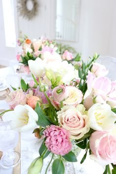 How To Create a Beautiful Spring Brunch Tablescape Beautiful Flower Arrangements, Floral Arrangements, Wedding Flowers, Wedding Day, Brunch Decor, Flower Farm, Beautiful Roses, Fresh Flowers, Flower Decorations