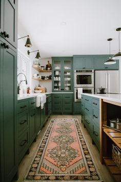 Kitchen Interior Design 13 Envy-Inducing Green Cabinets That Will Make Your Houseguests Jealous Green Kitchen Cabinets, New Kitchen, Kitchen Colors, Kitchen Corner, Dark Green Kitchen, Awesome Kitchen, Beautiful Kitchen, Kitchen Paint, Kitchen Wood