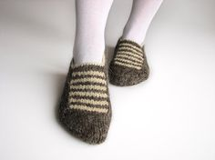 Thick Yarn Hand Knitted Woolen Slippers  100 Natural by milleta, €18.00