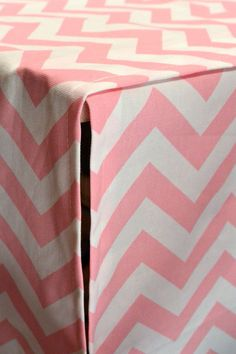 Designer Dog Crate Cover in ALL sizes : Choose from 100s of Premier Print Fabrics - Zig Zag Chevron Pink/White shown