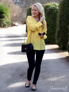 over-sized yellow blouse