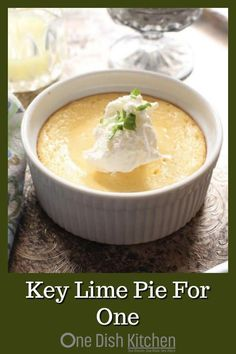 cooking tips - All the flavors you love in a Key Lime Pie can be found in this Key Lime Pie recipe for one! Smooth and creamy with the perfect balance of tart and sweet Baked in a ramekin or small baking dish, this classic pie comes complete with a butter Single Serve Desserts, Single Serving Recipes, Small Desserts, Key Lime Desserts, Mini Desserts, Mug Recipes, Baking Recipes, Recipies, Easy Recipes