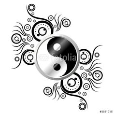 Vector: Yin and Yang symbol ornamented with abstract pattern