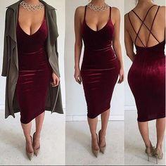 Deep V-neck Sleeveless Backless Sexy Club Bodycon Skinny Pleuche Dress