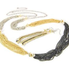 Multi Strand Necklace Earrings Set D8 Silver Gold Hematite Tones Chain Tassel Recyclebabe Necklace Sets http://www.amazon.com/dp/B015G438U8/ref=cm_sw_r_pi_dp_.XD-vb11BAFCA