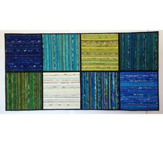 """Quilted wall hanging. Study for the ocean. Blue abstract textile art. Modern quilt. 24 x 48"""". Modern home decor. OOAK. Quilt. Ocean colors. by AnnBrauer on Etsy"""