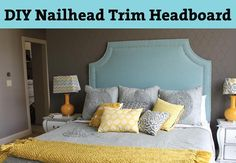 DIY Nailhead Trim Headboard from Mama Say What? Heidi shows us how she made the gorgeous nailhead trim headboard for her bedroom. It looks so easy! Corner Headboard, Nailhead Headboard, Headboard Shapes, Modern Headboard, Diy Headboards, Nailhead Trim, Headboard Ideas, Bedroom Ideas, Pegboard Headboard