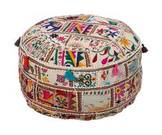Colorfully wild, this pouf is sure to make a teen room roar. Mixing together a variety patterns, this piece is destined to catch the eye.