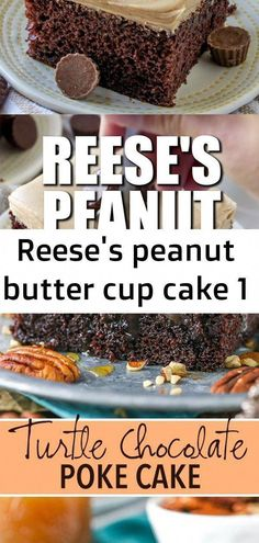 Reese's peanut butter cup cake 1 #chocolatepeanutbutterpokecake Reese's Peanut Butter Cake starts with a yummy chocolate boxed cake mix and is topped with the most amazing Reese's peanut butter frosting! Chocolate Turtle Poke Cake - completely from scratch, moist chocolate cake soaked with caramel sauced topped with more chocolate, caramel and pecans! Homemade Snowball Kisses Cookies, Baked Goods, Homemade Cookies, Holidays, Events, Parties, Weddings #choc #ToffeePudding Reese Peanut Butter Cake, Vegan Peanut Butter Cookies, Gluten Free Peanut Butter, Peanut Butter Cups, Chocolate Box Cake, Chocolate Cake Mix Recipes, Homemade Cake Recipes, Homemade Cookies, Reeses Cake