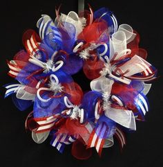 Patriotic Wreath for Memorial Day or Fourth of July by Wreaths by Robin.