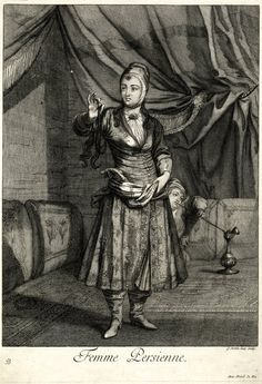Standing woman, whole-length, in Turkish costume with embroidered dress, holding a lock of her hair in right hand; behind her, a boy smoking  Etching
