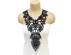 Luxury Handmade Cotton Lace Applique necklace Black by HAREMDESIGN