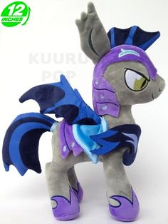 My Little Pony Lunar Guard Plush It's an intimidating Royal Guard, perfect for flanking your Princess Luna plush! These high-quality toys have purple armour, dark bat wings and tufted ears. - Plush is approx 12 inches / 30 cm tall. - Brand new with tags. - Ages 6 & up.