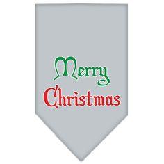 Merry Christmas Screen Print Bandana Grey Large