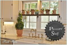 Easy And Budget Beautiful Update to Your Kitchen! DIY.. Super simple shelf from pallet wood above the kitchen sink! No Cost Fabulous Step by Step Tutorial!