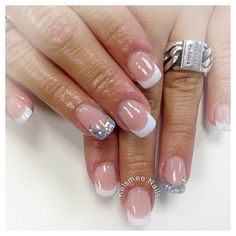 Young Nails acrylic French manicure cover pink
