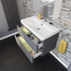 Denver II Gloss White Built In Basin Drawer Unit - Floor Standing - Waste Included Bathroom Basin Units, Basin Vanity Unit, Vanity Units, Small Bathroom, Bathroom Ideas, Sink Units, Bathroom Vanities, Bathroom Designs, Short Projection Toilet