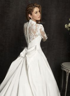 Ball-Gown V-neck Cathedral Train Appliques Lace Bow(s) Lace Covered Button Sleeves Long Sleeves Church No Winter Fall Ivory White Wedding Dress