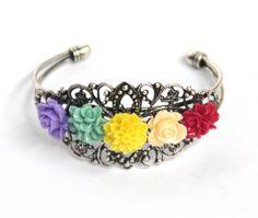 Rainbow flower bracelet hand cuff antique silver lovely