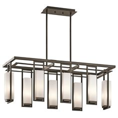 8 Light Grid and Rectangle Glass Chandelier