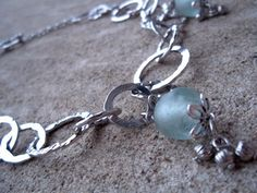 Silver Hoop & Light Aqua Recycled African Glass Bead Necklace