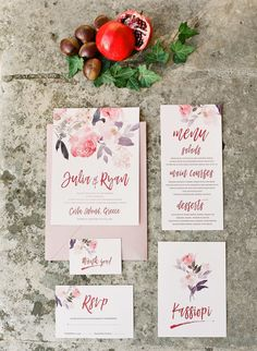 Floral wedding stationary: Photography: Adrian Wood Photography - adrianwoodphotography.com   Read More on SMP: http://www.stylemepretty.com/destination-weddings/2017/02/07/a-dream-dress-and-greece-make-for-the-most-beautiful-combo/
